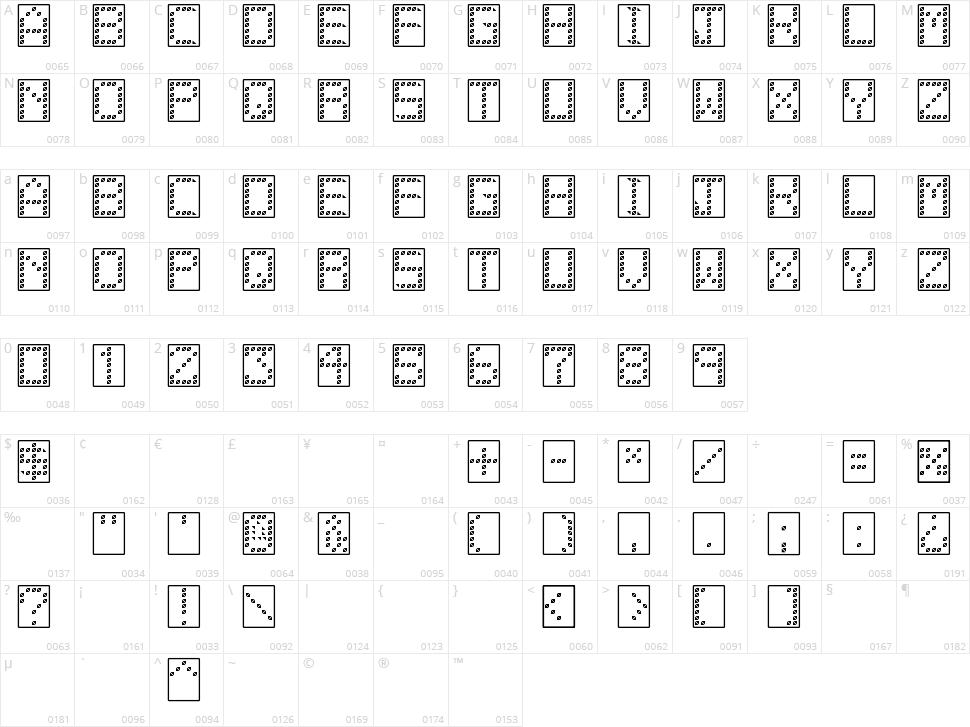 11 Vator TFB Character Map