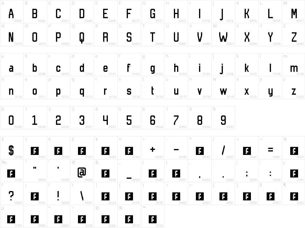 13/5 Atom Sans Character Map