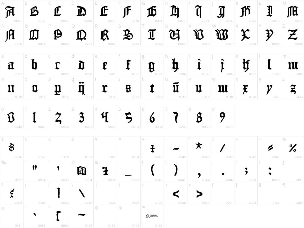 1454 Gutenberg Bibel Character Map