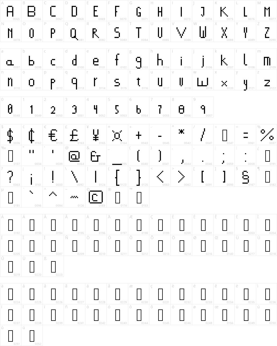 378 Font Character Map