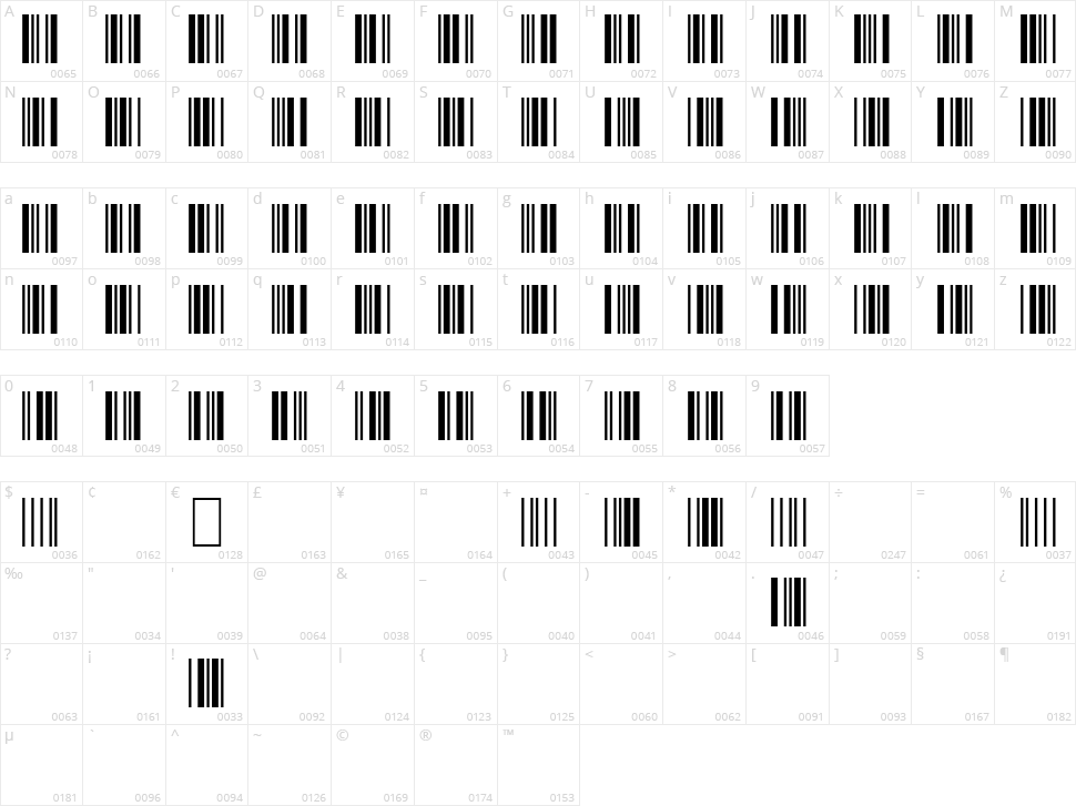 3 of 9 Barcode Character Map