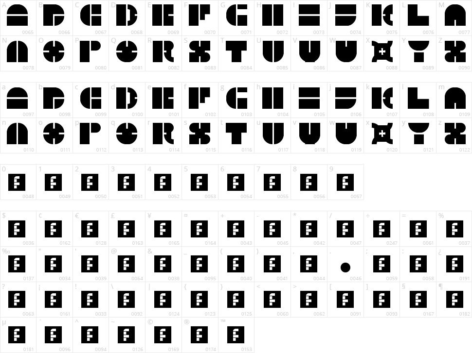 5 Megabam Character Map
