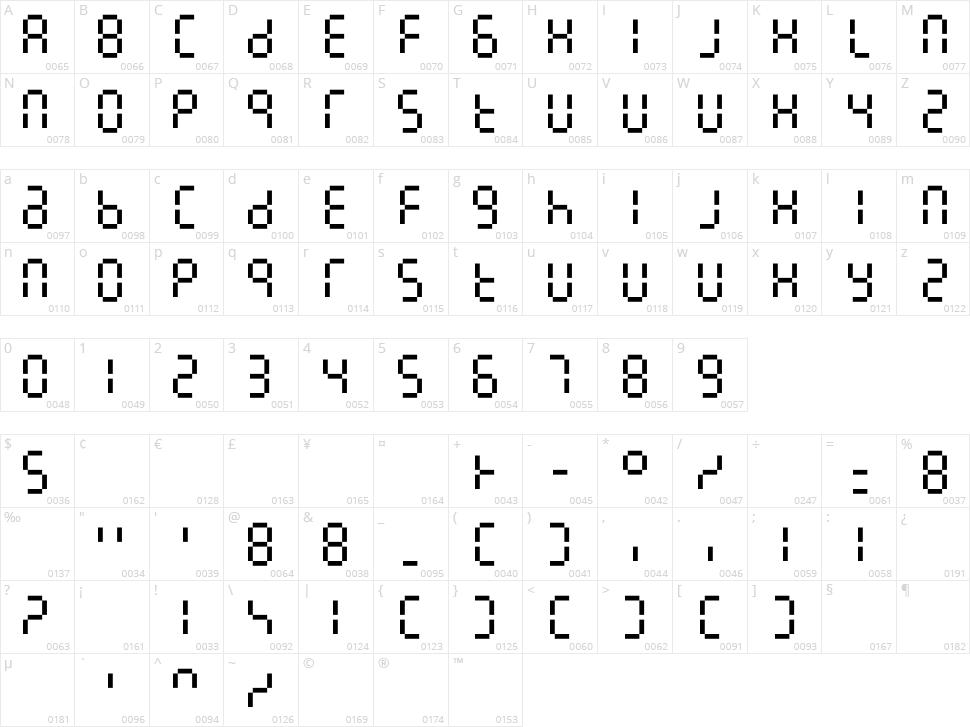 7LineDigital Character Map