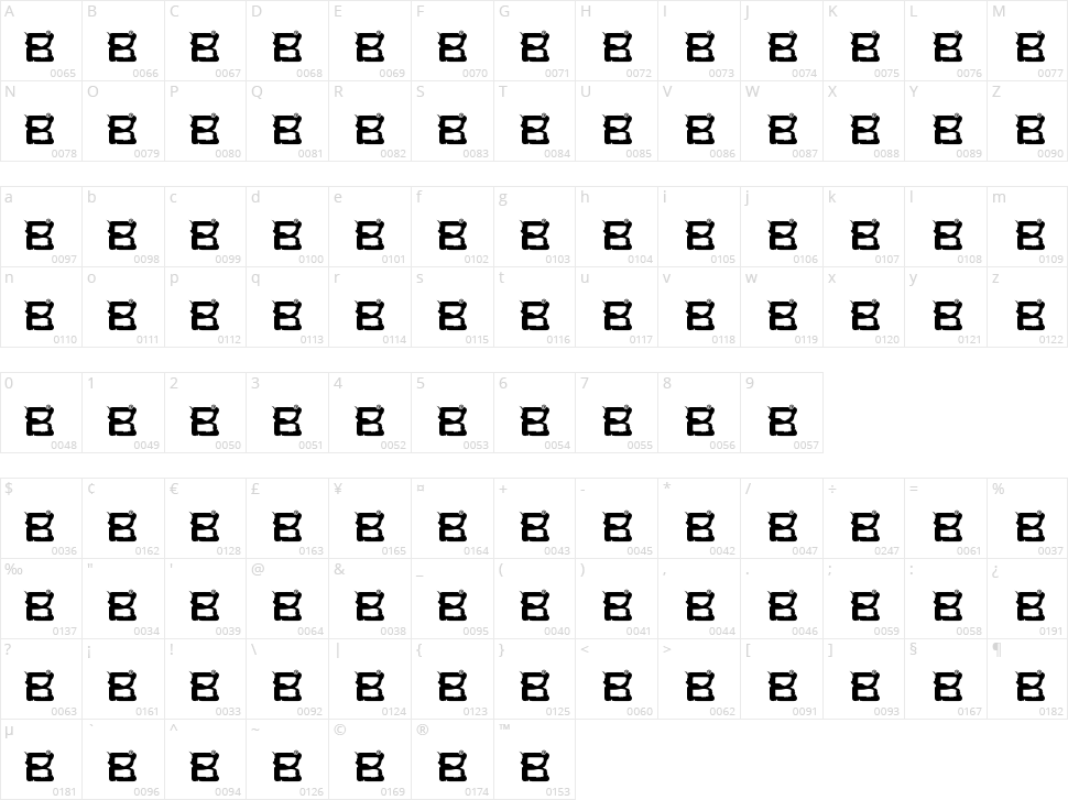 99% BadbOy Character Map