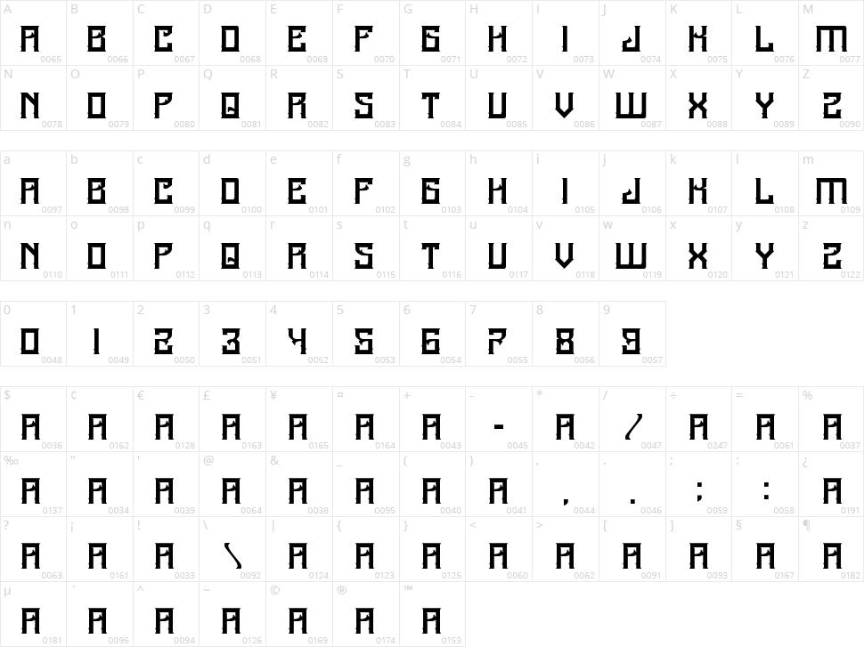A25-Kamadjaja Character Map