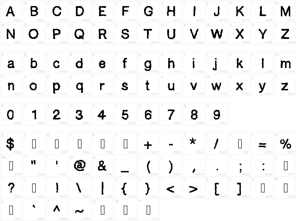Ablocky Font Character Map
