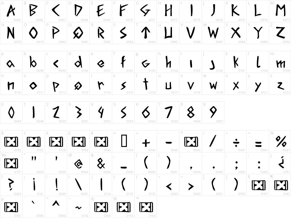 Acadian Runes Character Map