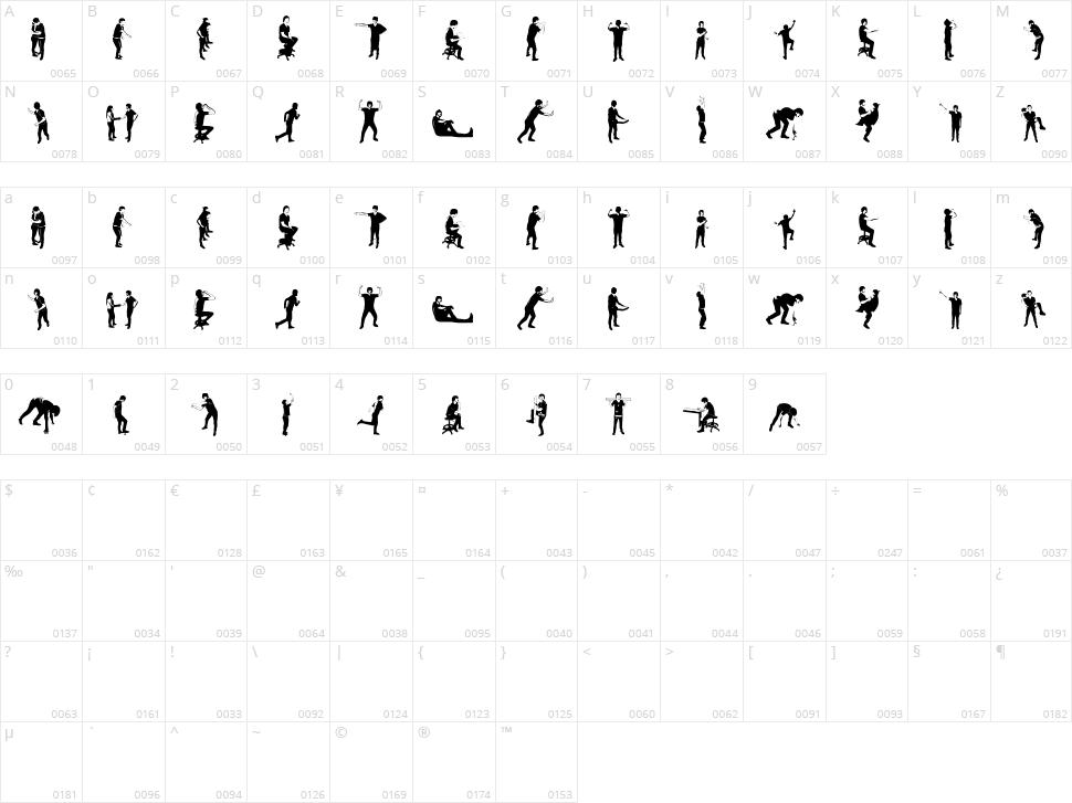 Accion Dingbat Tipografia Character Map