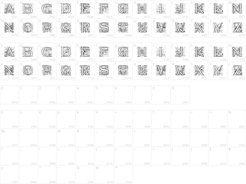 Acorn Initials Character Map