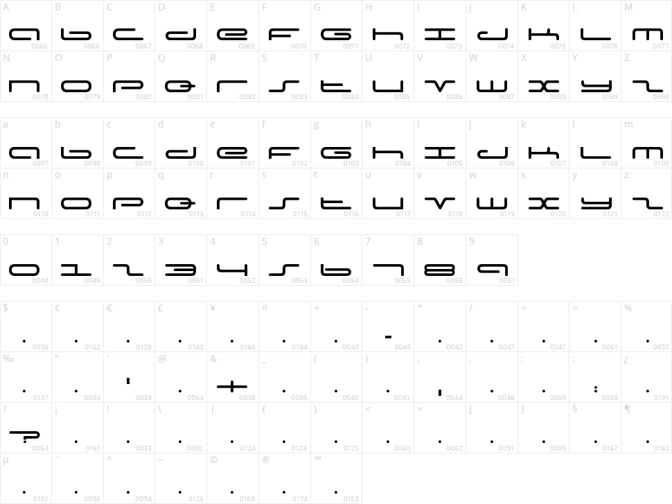 Adam's Font Character Map