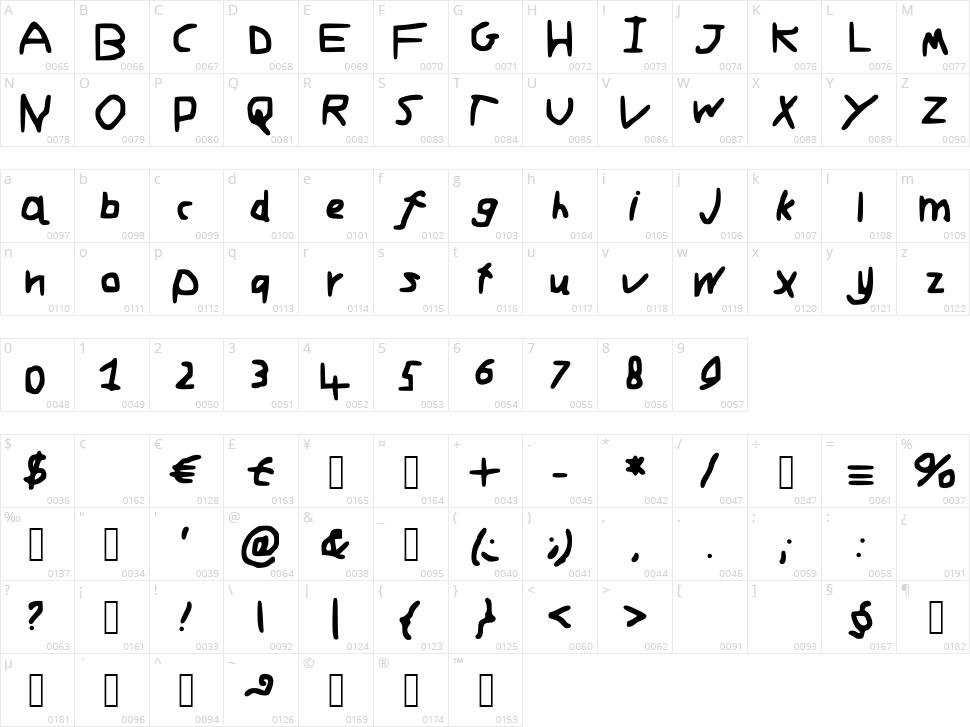 Adams Font Character Map