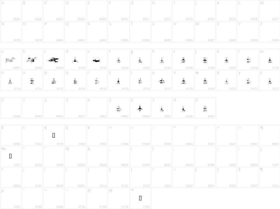 Aircraft Character Map