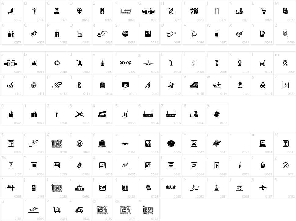 Airport Icons Character Map