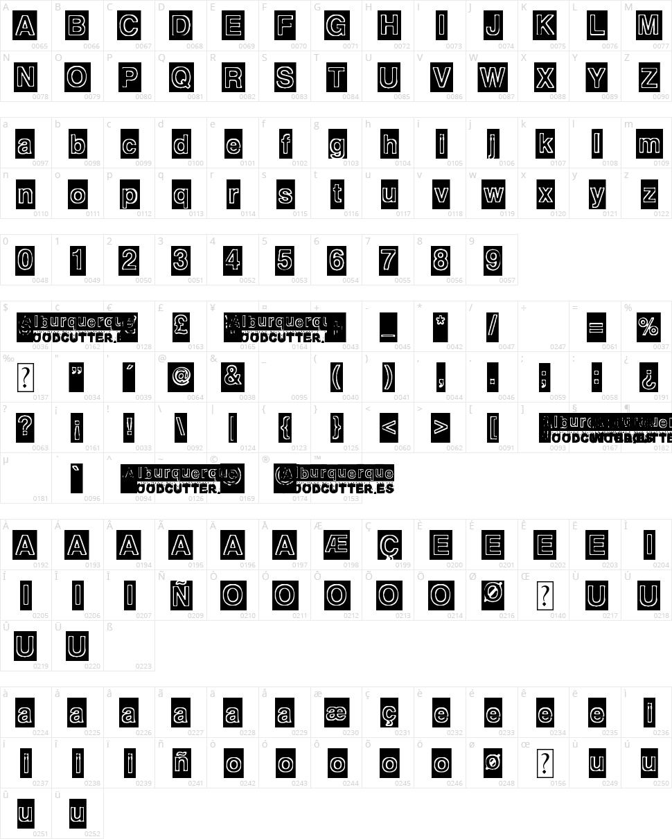 Alburquerque Character Map