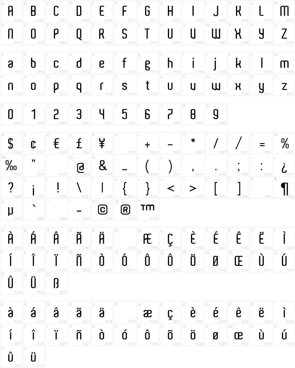 Aldo Character Map