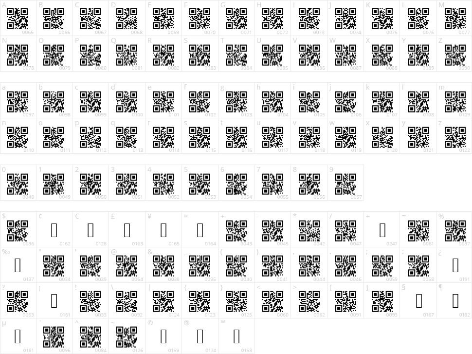 AlphanumericQR Character Map