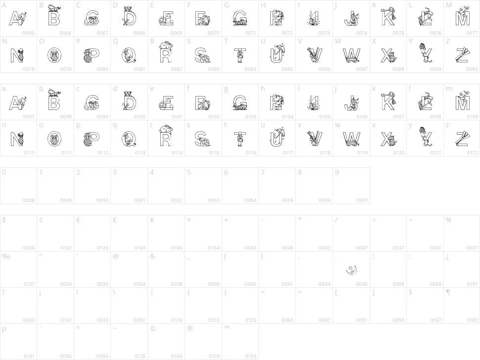 Alphapix Character Map