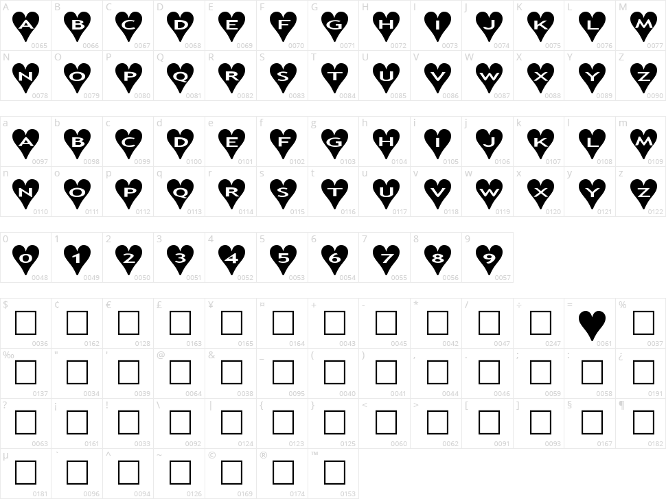 AlphaShapes Hearts Character Map