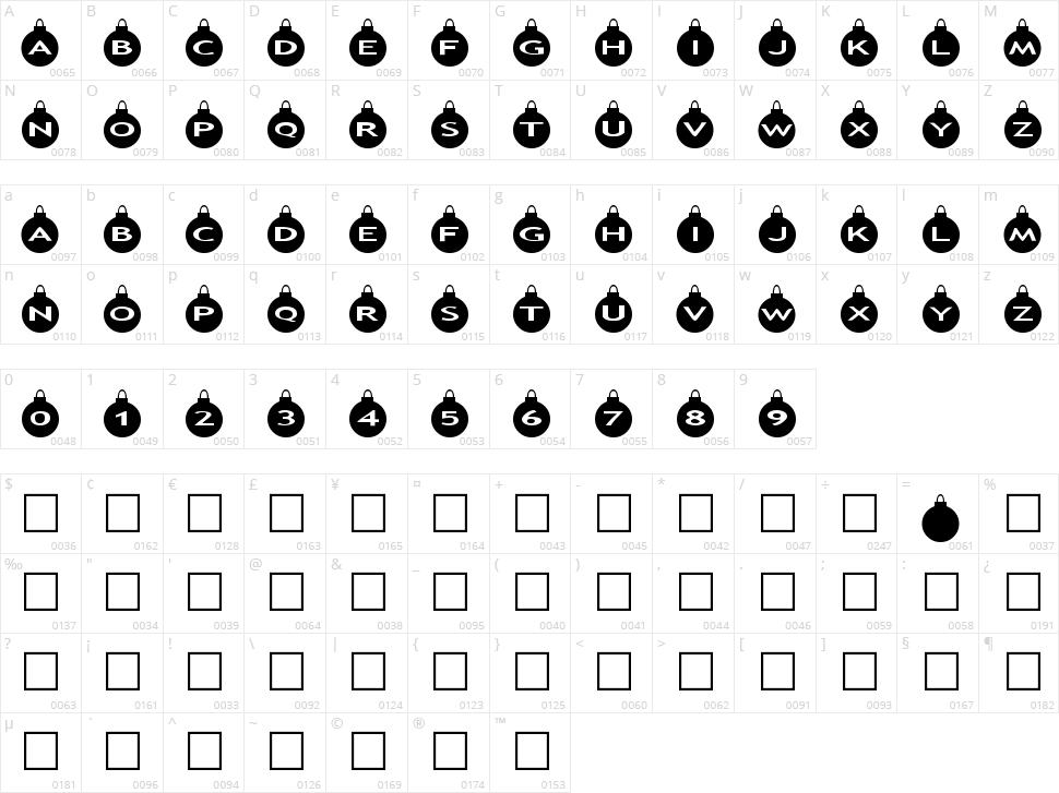 AlphaShapes xmas balls Character Map