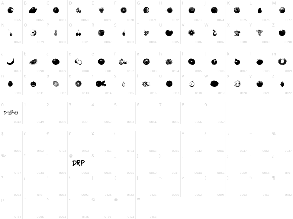 An Apple A Day Fruit Font Character Map