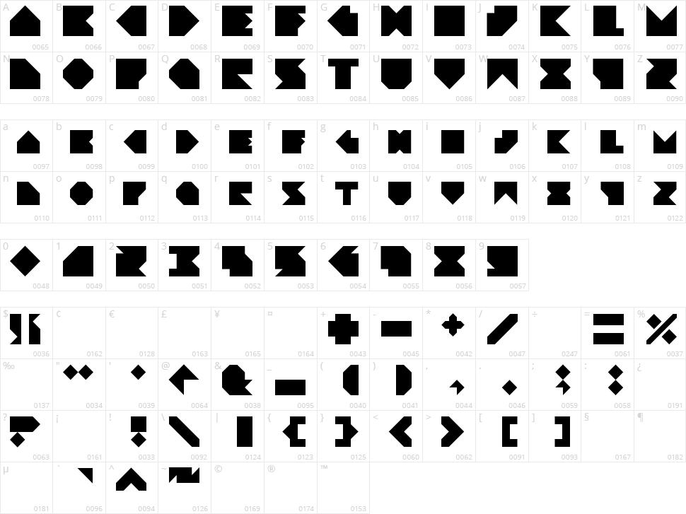 Angleblock Character Map