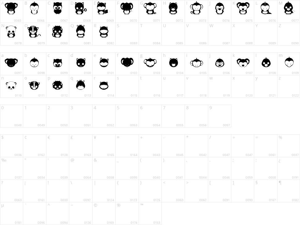 Animox Character Map