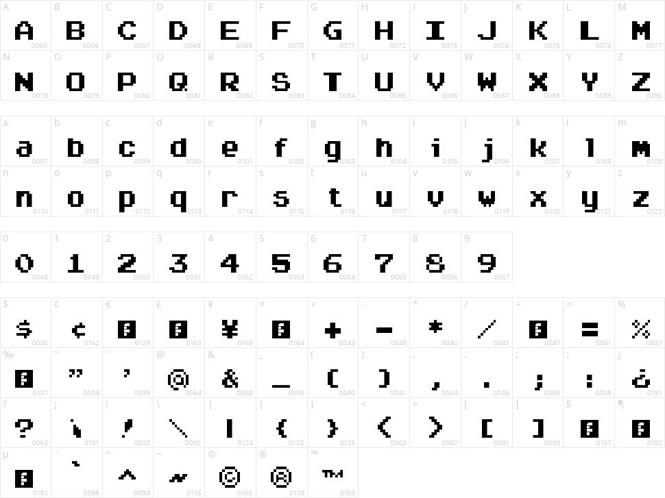 Arcadepix Plus Character Map