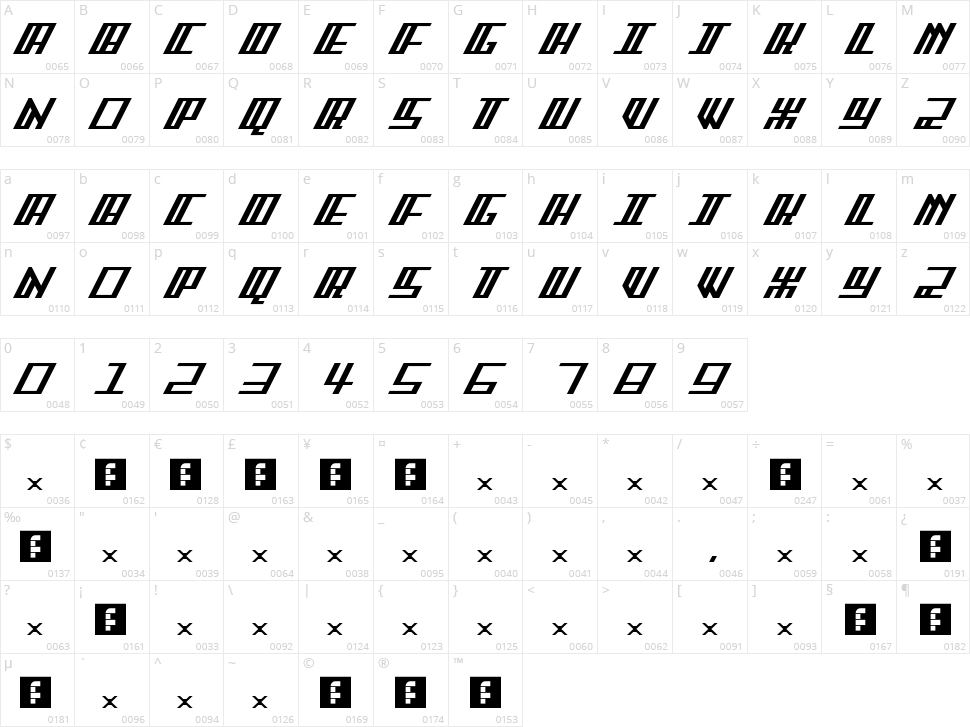 Arcader FS Character Map