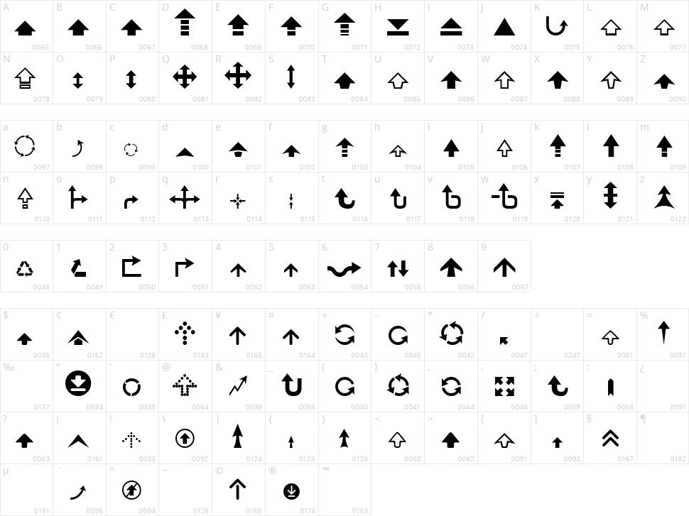 Arrow 7 Character Map