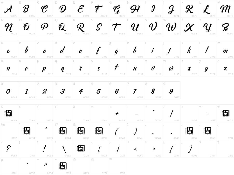Asiyah Script Character Map