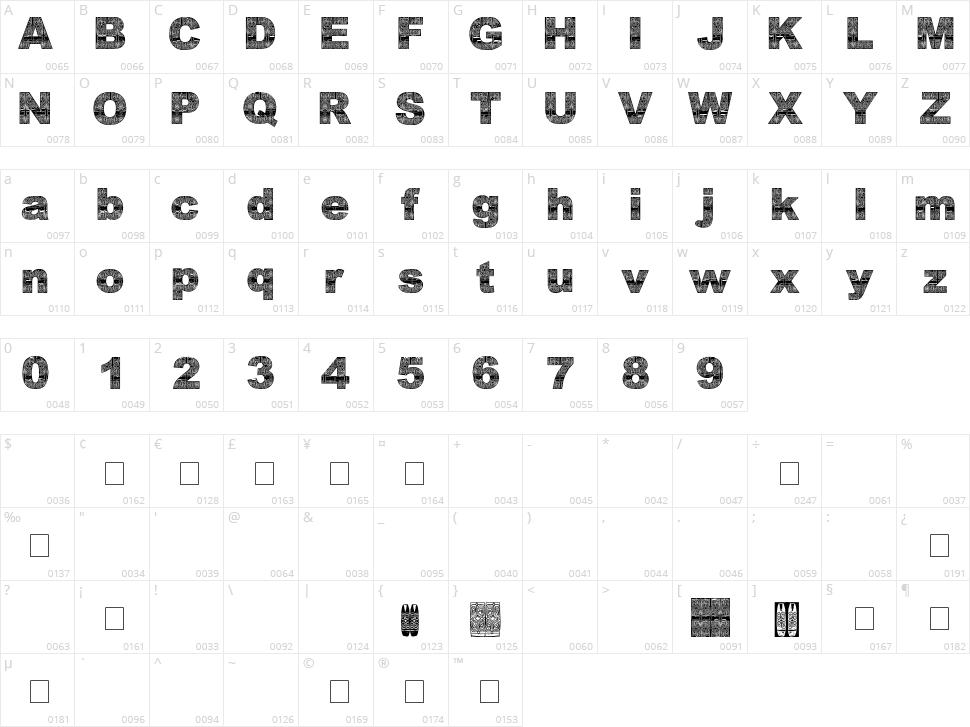 Asmat Font 2007 Character Map