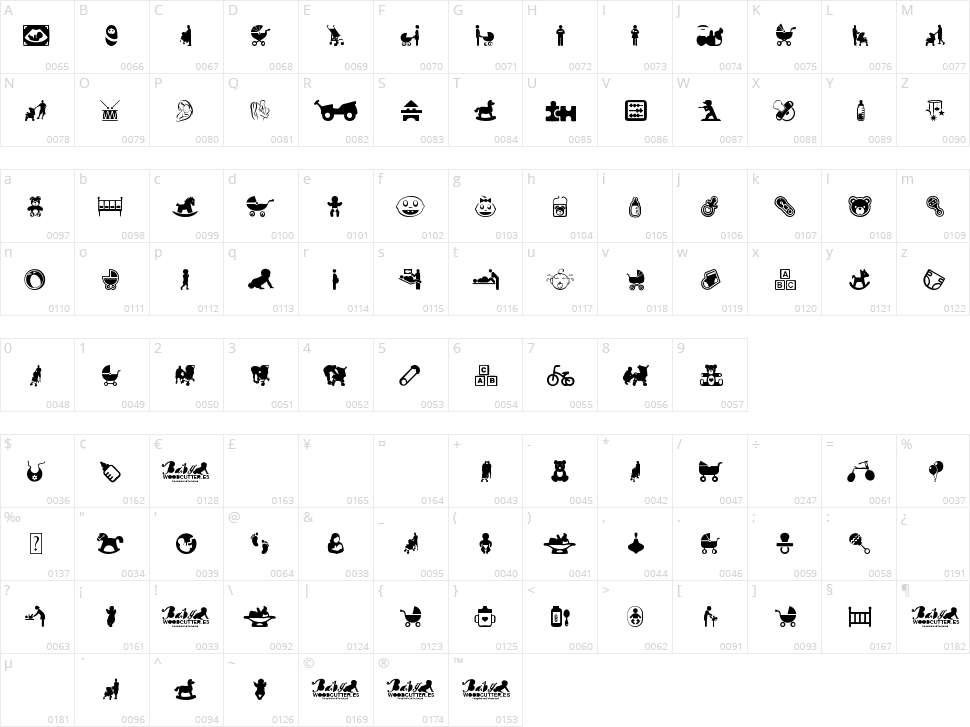 Baby Icons Character Map