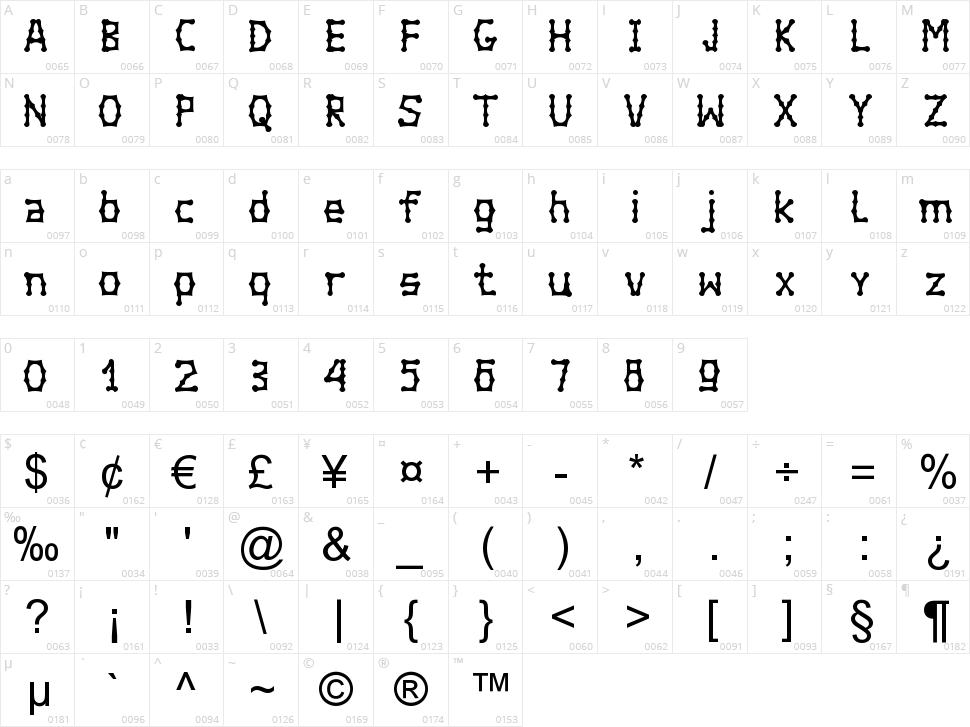 Bambuchinnox Character Map