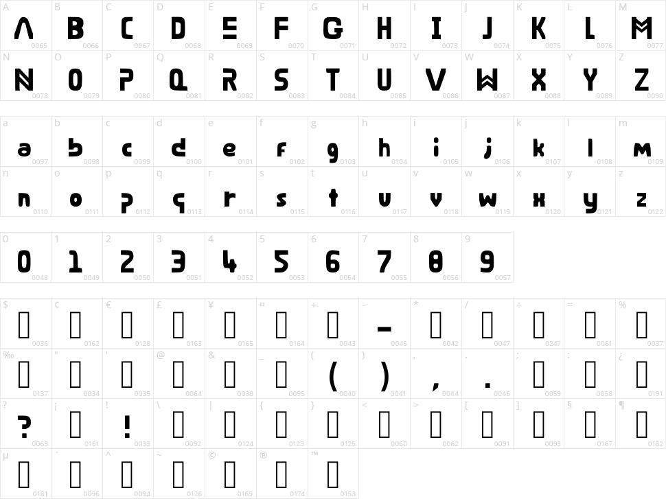 Bare Riddim Character Map