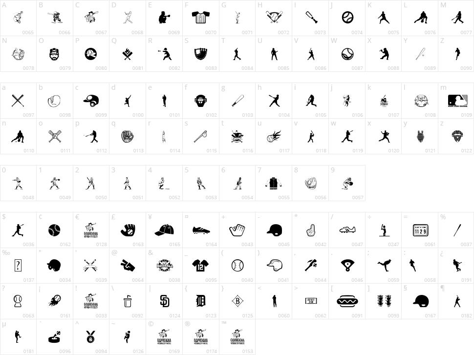 Baseball Icons Character Map