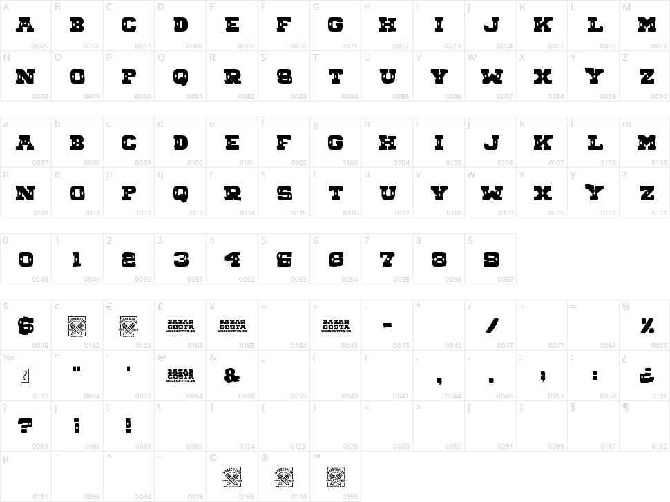 Bazar Costa Character Map