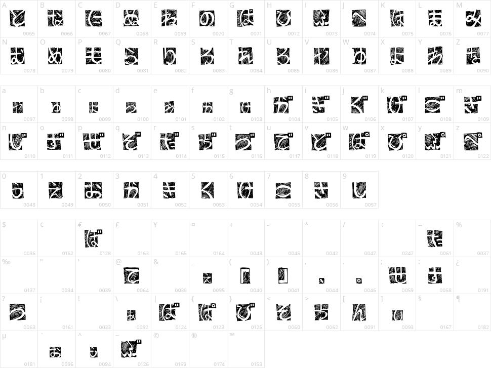 BD Hiragana Kuro Character Map