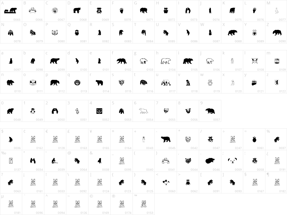 Bear Icons Character Map