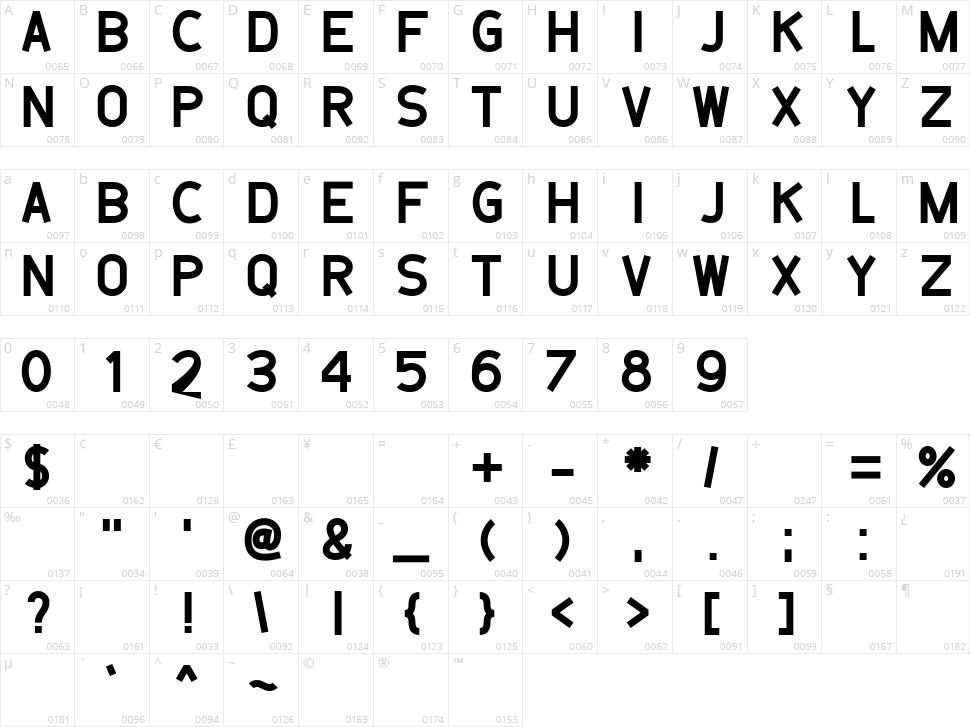 Belanusa Character Map