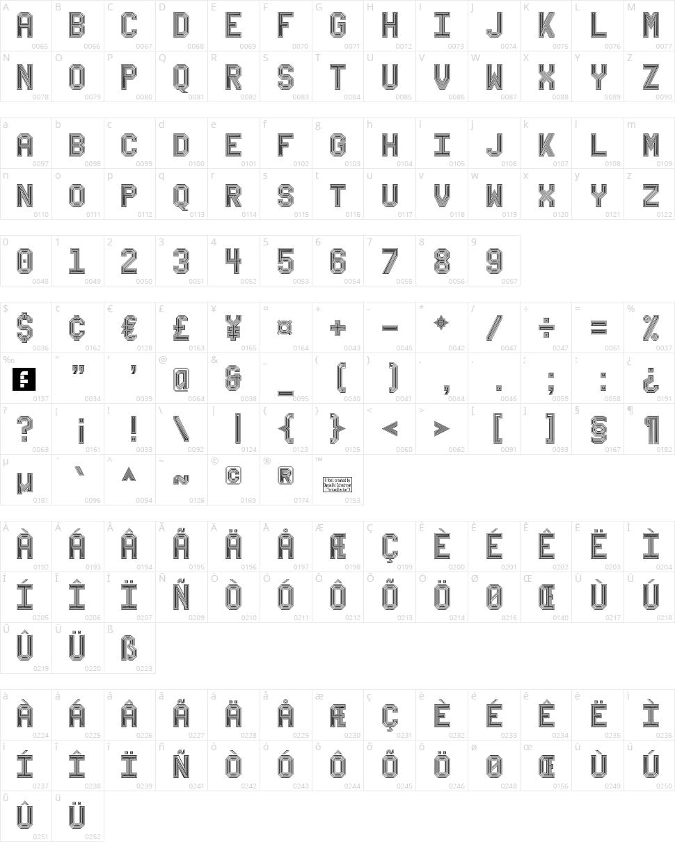 Bevel'sAdvocateMono Character Map