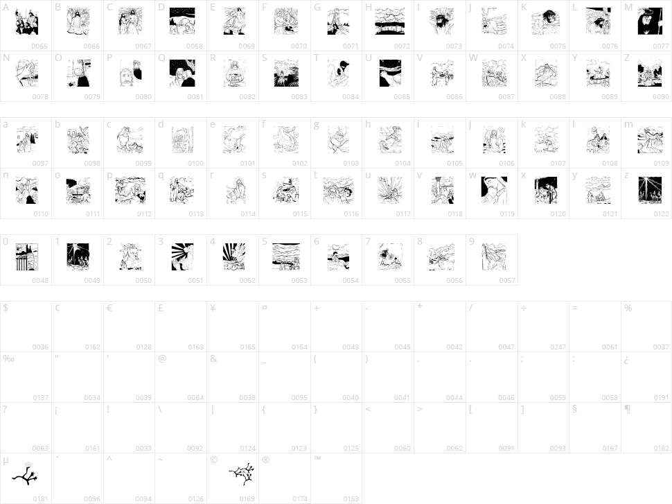 Biblish Pictures Character Map