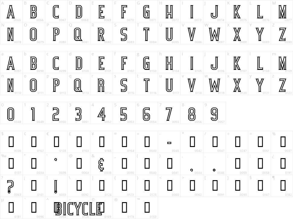 Bicycle Character Map