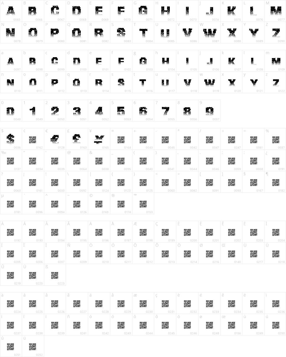 Binary Waters Character Map
