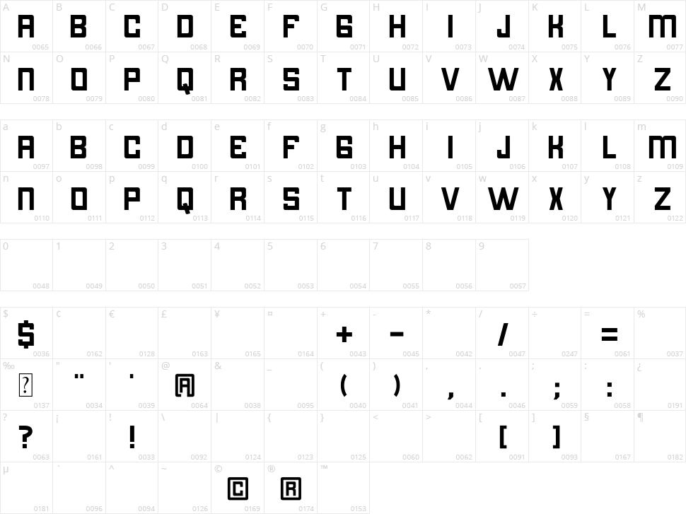 Bintara Character Map