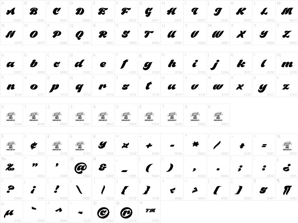 Black Fox Character Map
