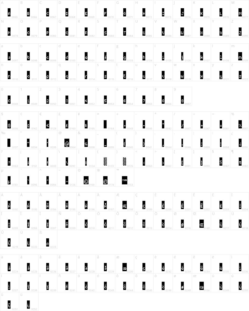Black Label Pixel Character Map