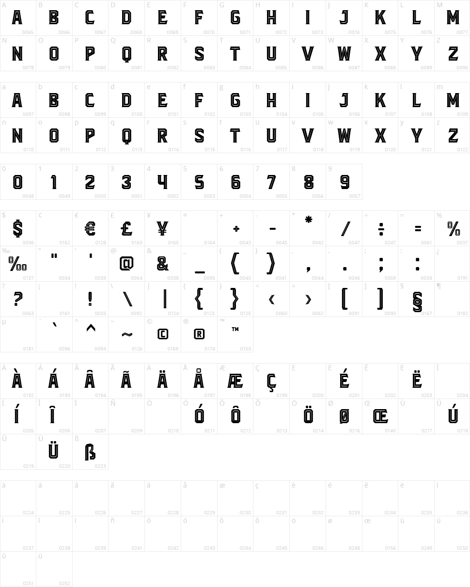 Blacktroops Inline Character Map