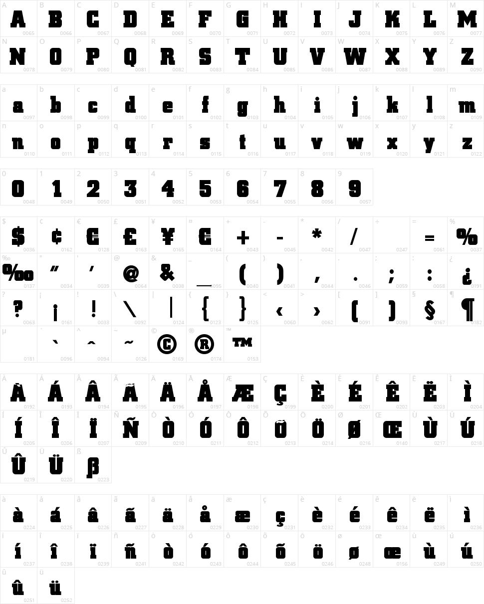 Blax Slab XXL Character Map