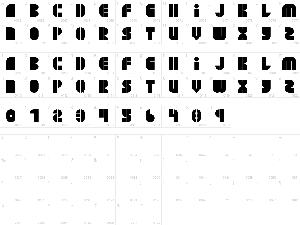 Block Jaye W73 Character Map