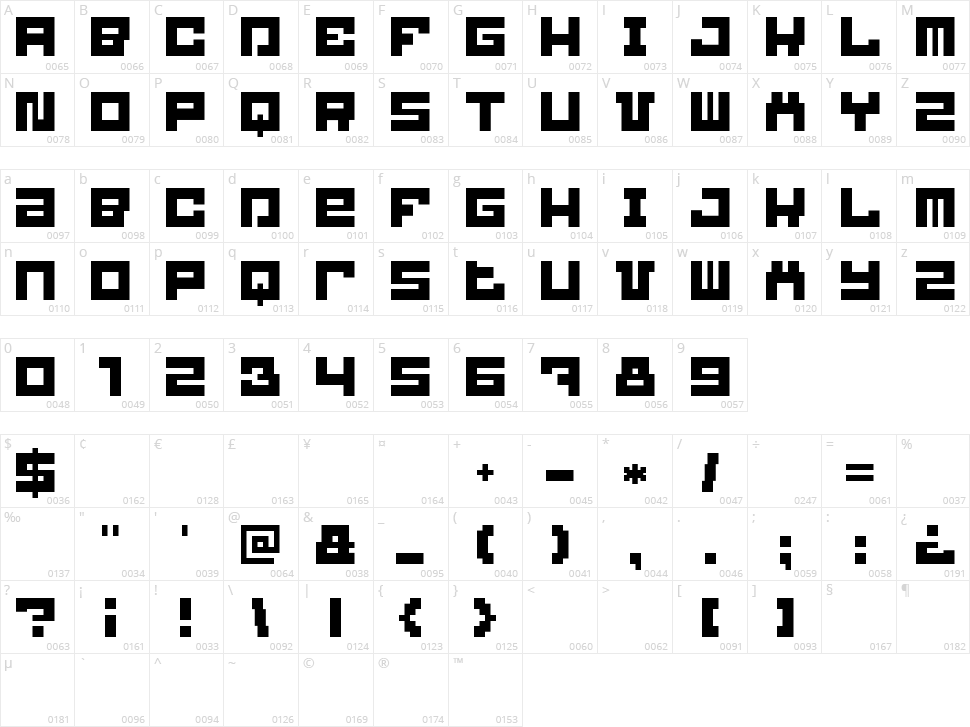 Blockbit Character Map